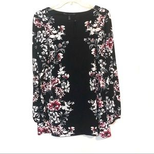 White House black market floral print tunic top